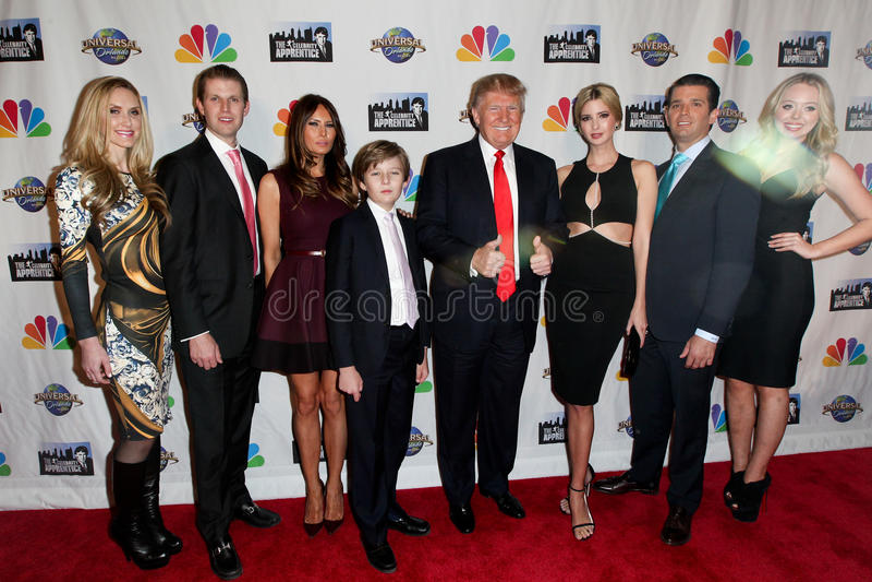 Lara Yunaska Eric Trump, Melania trumf, Barron Trump, Donald Trump, Ivanka Trump, Donald Trump Jr , Tiffany Trump arkivbilder