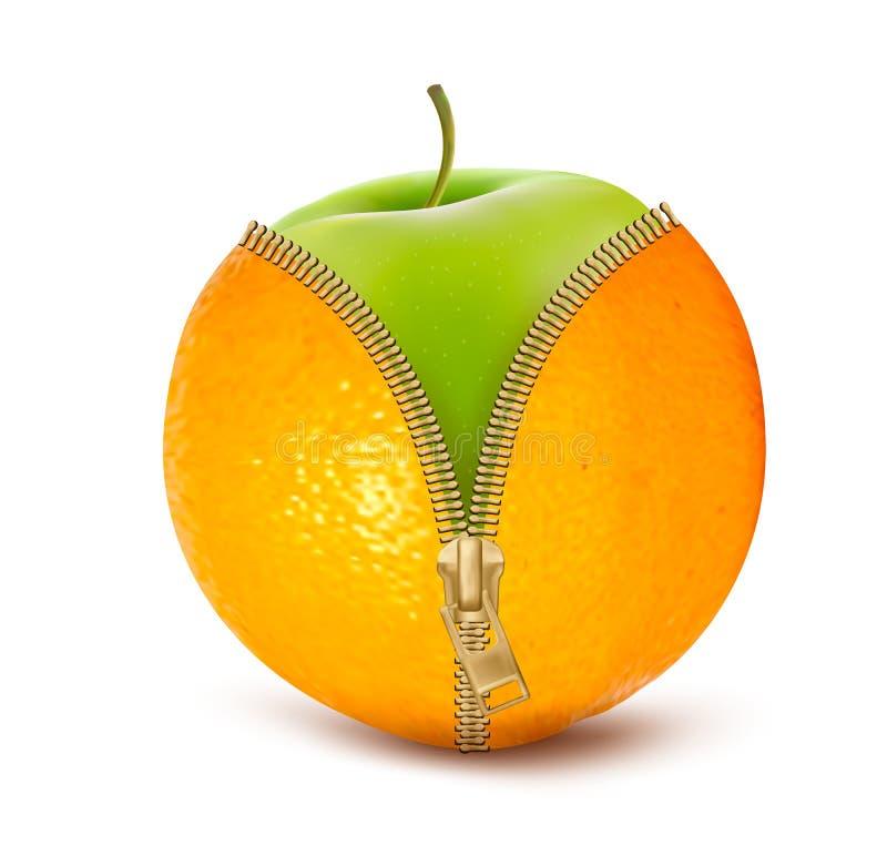 Laranja aerta o zíper com maçã verde. Fruto e dieta ilustração do vetor
