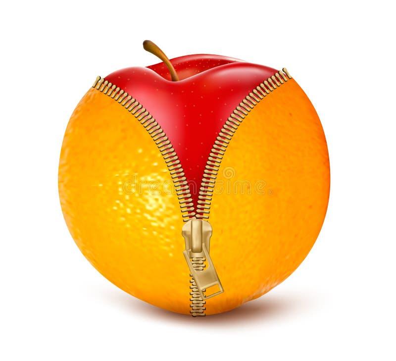 Laranja aerta o zíper com maçã vermelha. Fruto e aga da dieta ilustração do vetor