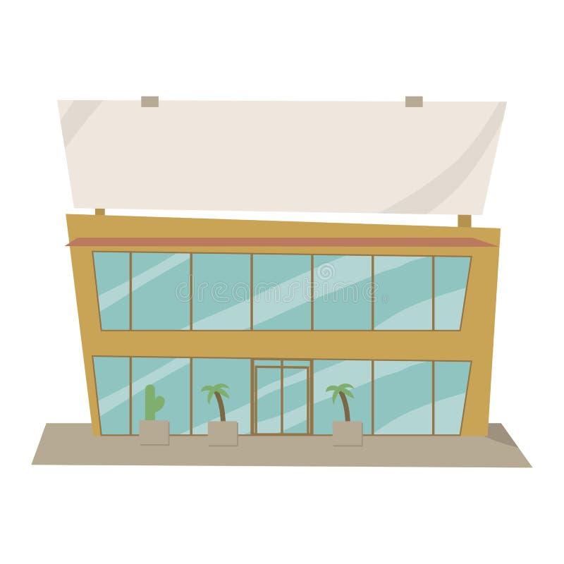 Laranja-amarelo brilhante com a loja azul do desenho da construção do vetor dos desenhos animados dos vidros com o quadro de avis ilustração royalty free