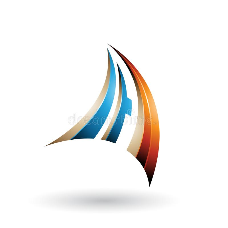 A laranja azul e a letra dinâmica bege A do voo 3d isolaram-se em um fundo branco ilustração do vetor