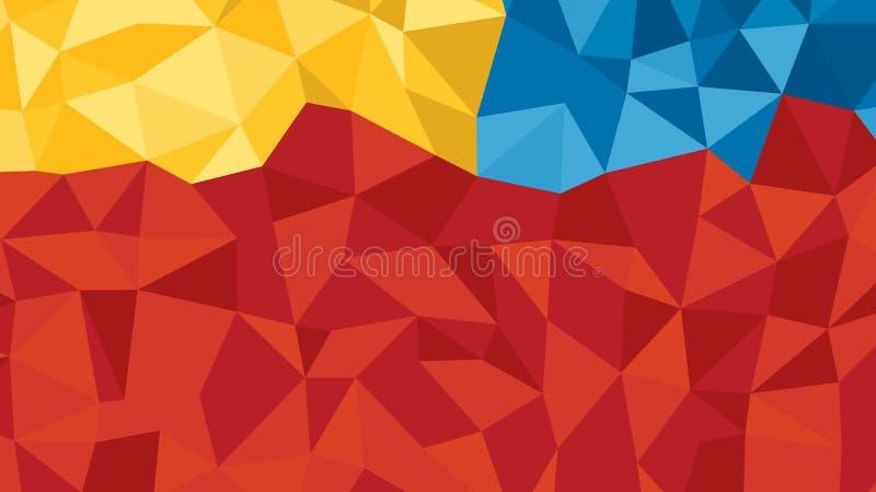 Laranja azul vermelha abstrata lowploly do fundo de muitos triângulos para o uso no projeto ilustração do vetor