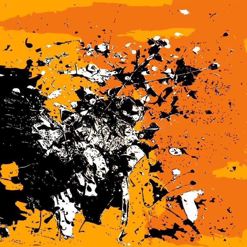 Laranja branca do preto do fundo do Grunge isolada ilustração royalty free