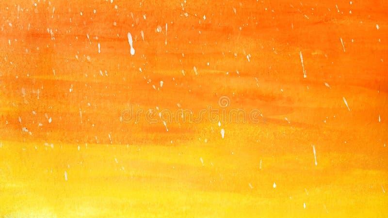 Laranja brilhante da aquarela do sumário e fundo vermelho com gotas brancas ilustração do vetor