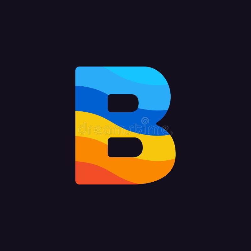Laranja colorida do vermelho azul de Logo Letter B do vetor ilustração do vetor