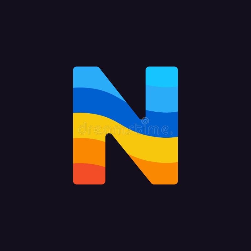 Laranja colorida do vermelho azul de Logo Letter N do vetor ilustração do vetor