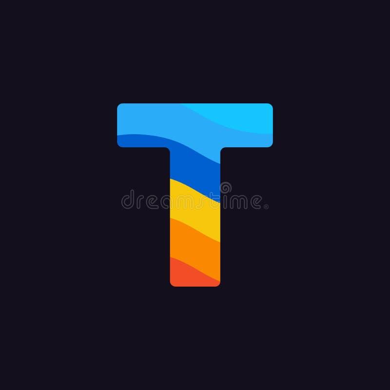 Laranja colorida do vermelho azul de Logo Letter T do vetor ilustração royalty free