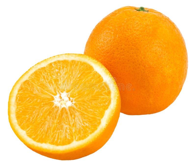Laranja com a metade da laranja isolada no fundo branco fotografia de stock royalty free