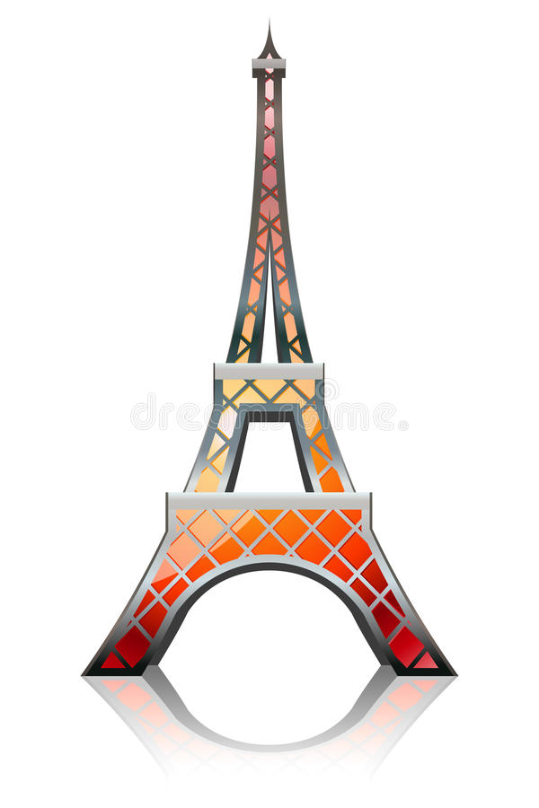 Laranja da torre Eiffel ilustração do vetor