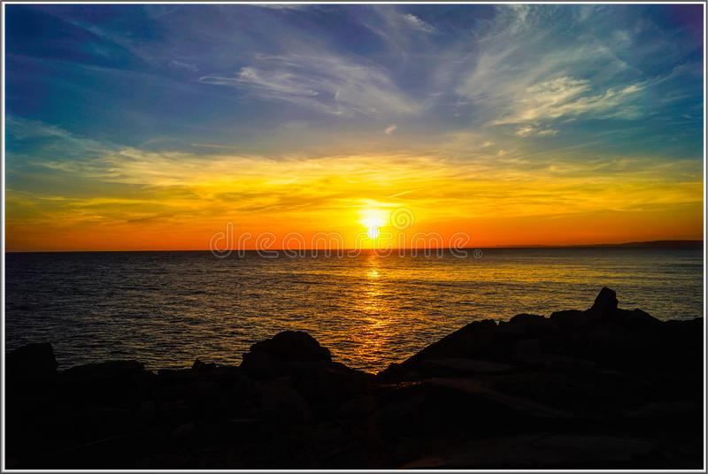 Laranja de Portland Bill Sunset fotos de stock royalty free