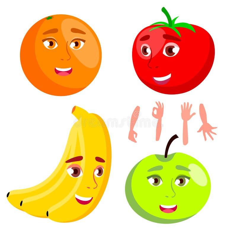 Laranja de sorriso, tomate, Apple, banana, vetor saudável do conceito comer Ilustração isolada dos desenhos animados ilustração royalty free