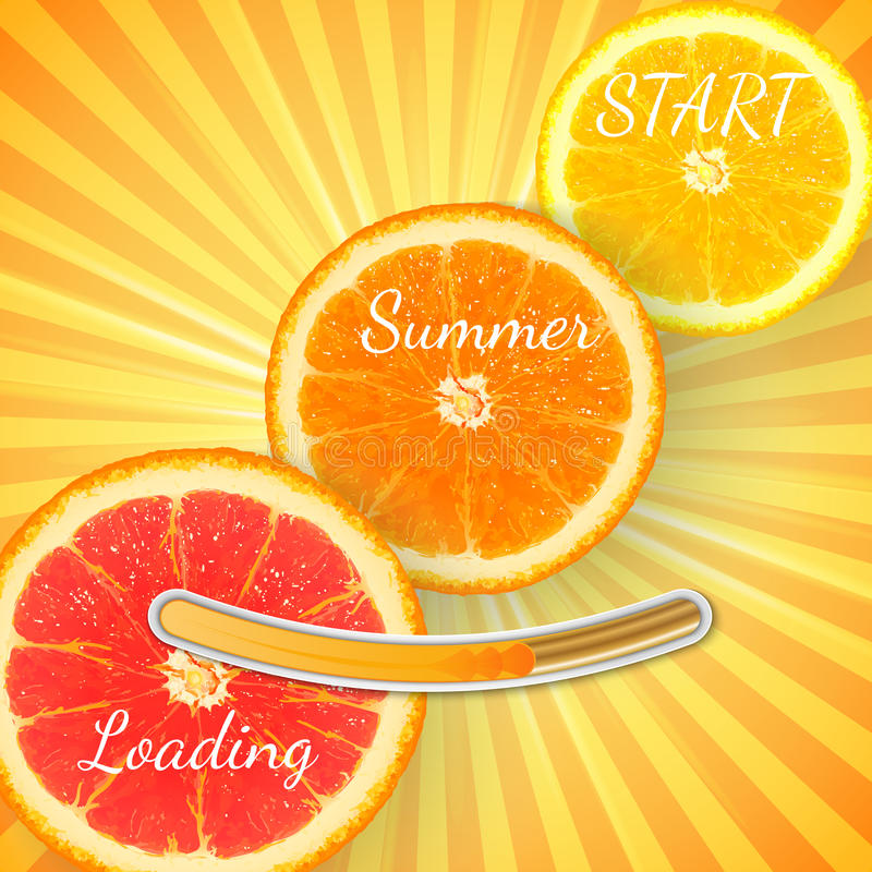 Laranja do fruto O fundo alaranjado da barra de carga do verão com sol irradia ilustração stock