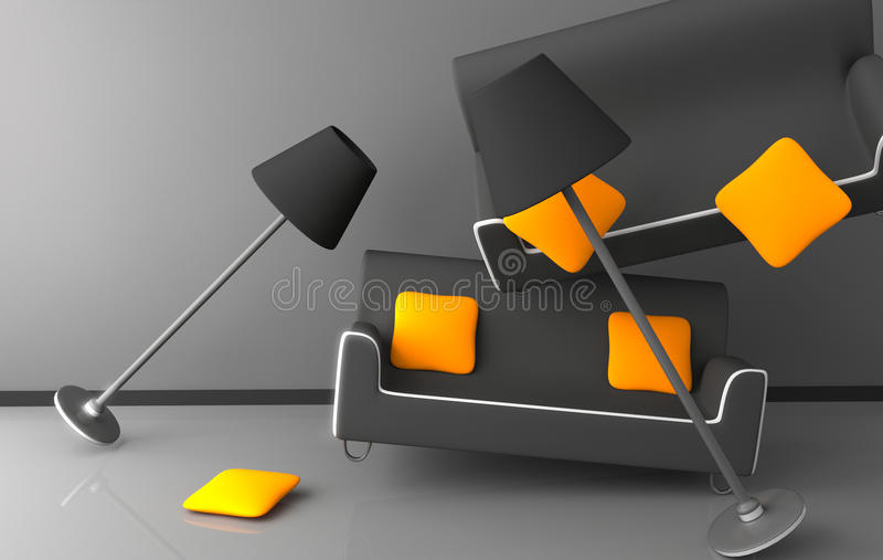 Laranja do projeto interior do caos ilustração stock