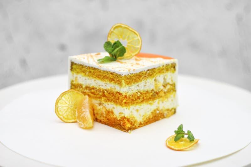 Laranja doce do fundo da torta do bolo imagens de stock royalty free