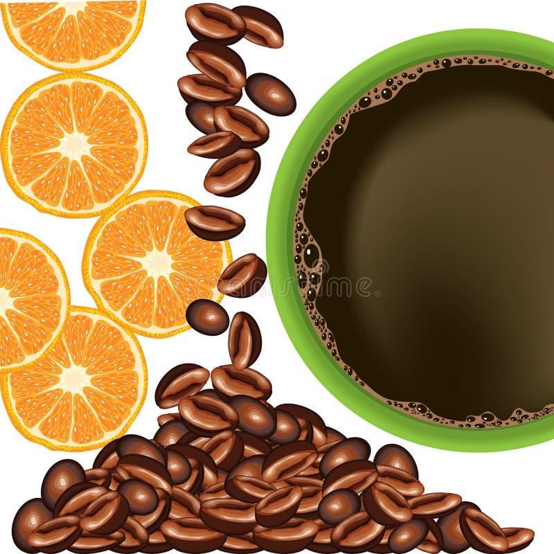 Laranja e café ilustração royalty free
