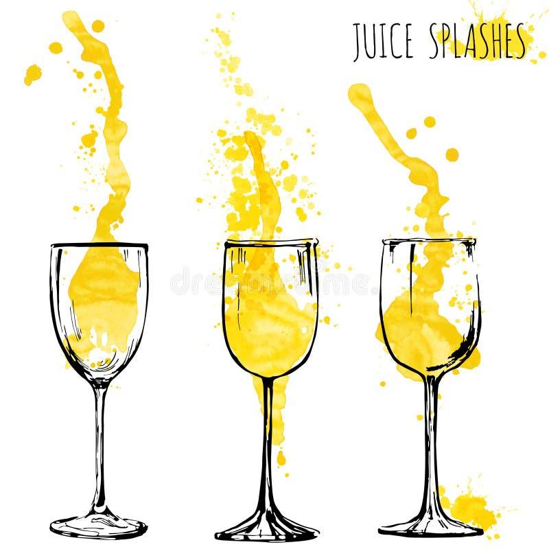 A laranja e a maçã do suco espirram em vidros de vinho, aquarela, ilustração do vetor do esboço ilustração do vetor