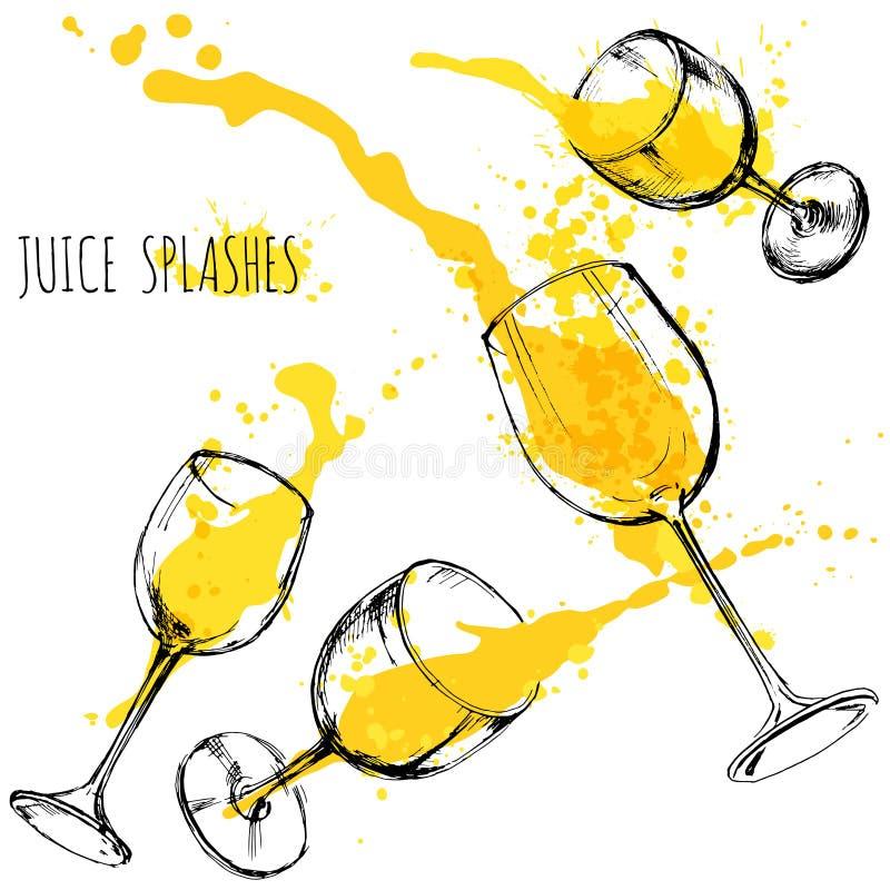 A laranja e a maçã do suco espirram em vidros de vinho, aquarela, ilustração do vetor do esboço ilustração royalty free