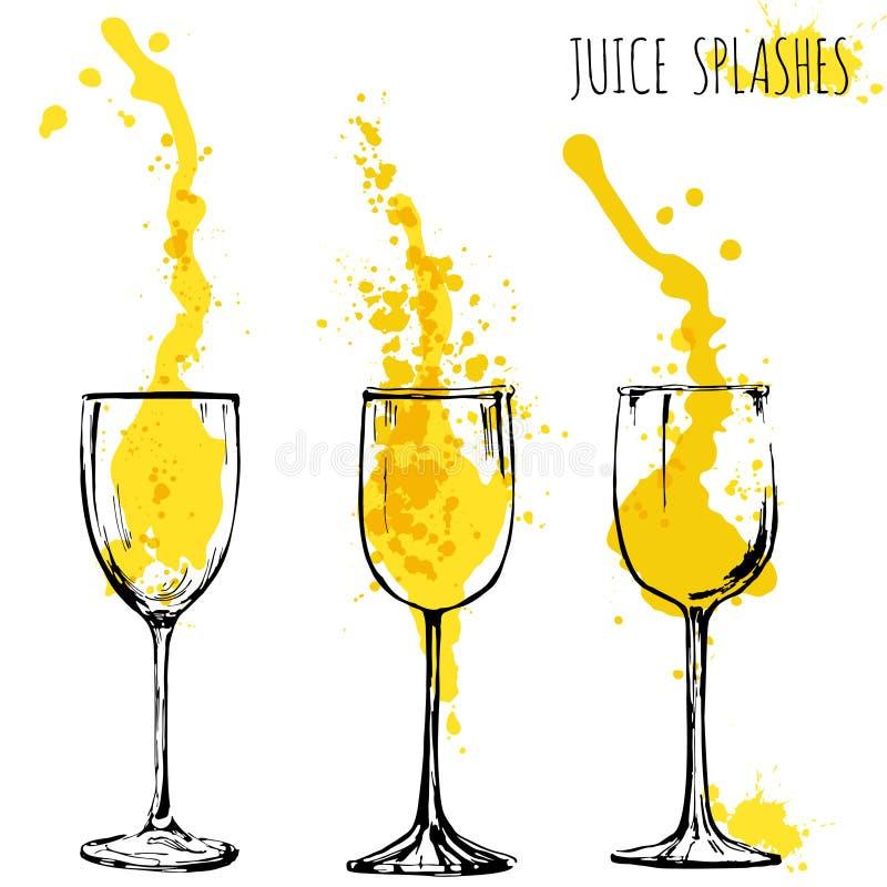 A laranja e a maçã do suco espirram em vidros de vinho, aquarela, ilustração do vetor do esboço ilustração stock