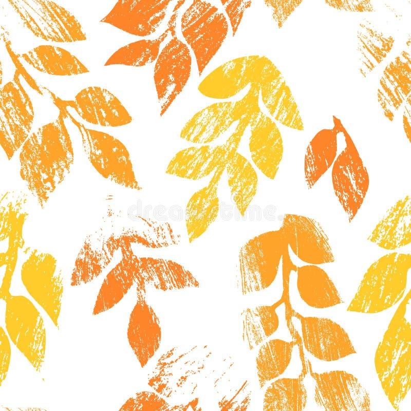 A laranja e o branco afligiram o teste padrão sem emenda do grunge das folhas de outono, vetor ilustração royalty free