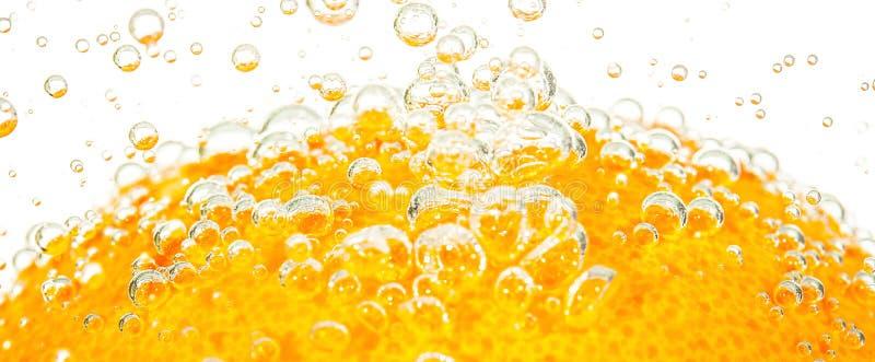 Laranja fresca com bolhas fotografia de stock
