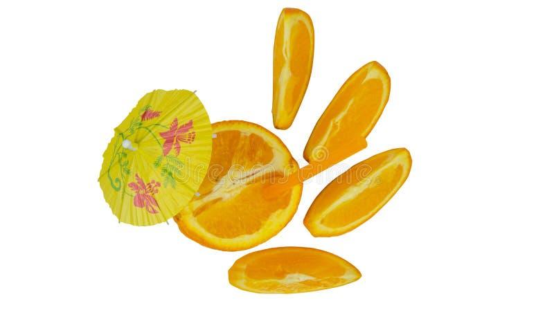 Laranja fresca como um conceito natural do suco Cocktail alaranjado com tubule e guarda-chuva fotografia de stock