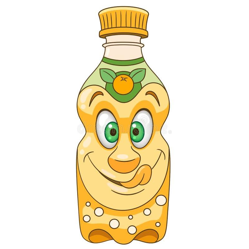 Laranja Juice Bottle dos desenhos animados ilustração do vetor