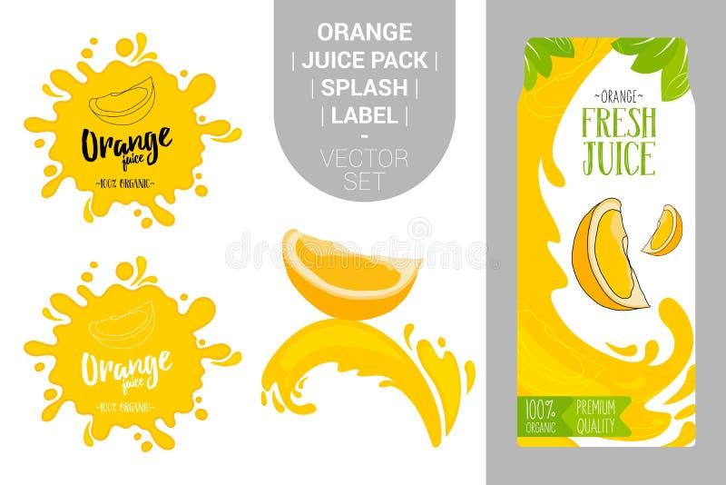 Laranja no respingo do suco Bloco fresco do suco do citrino com as etiquetas orgânicas das etiquetas e as folhas verdes ilustração royalty free