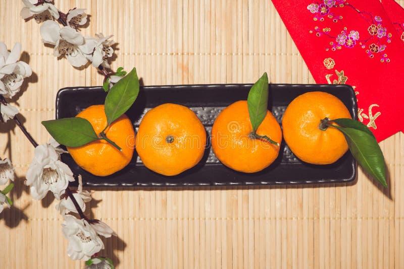 Laranja pelo ano novo chinês lunar Conceito do feriado de Tet fotos de stock royalty free