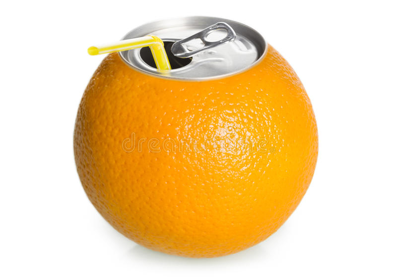 A laranja pode suco com palha, conceito. foto de stock royalty free