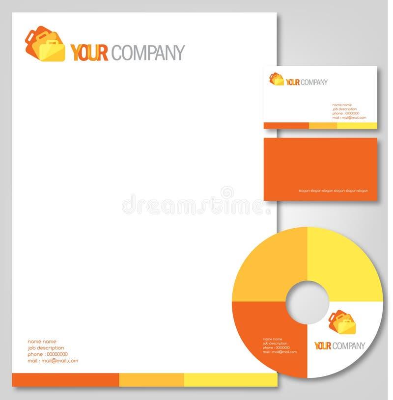 a laranja protege artigos de papelaria da companhia ilustração stock