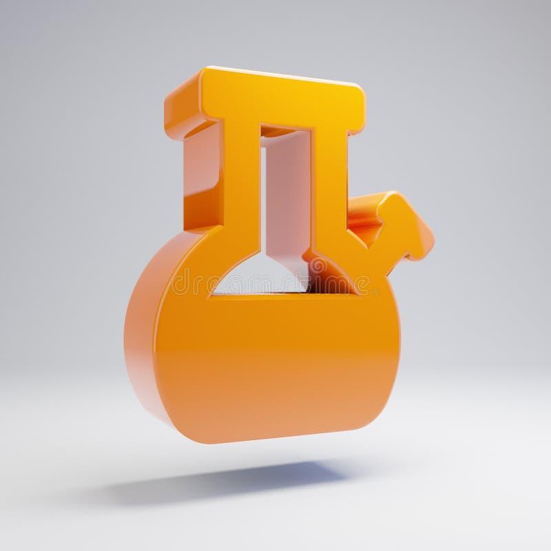 A laranja quente lustrosa volumétrico Bong o ícone isolado no fundo branco ilustração royalty free
