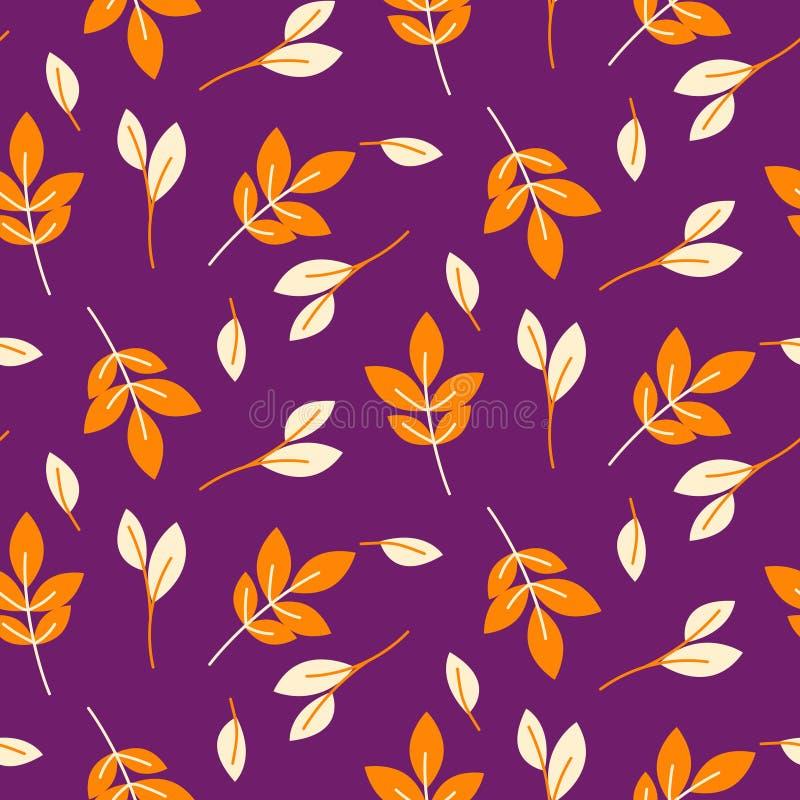 A laranja rústica da queda sae do teste padrão roxo sem emenda ilustração royalty free