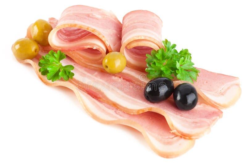 Lard coupé en tranches savoureux de porc photo stock