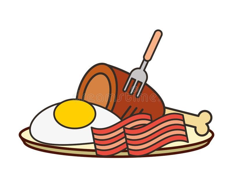 Lard et poulet d'oeuf au plat de plat illustration de vecteur