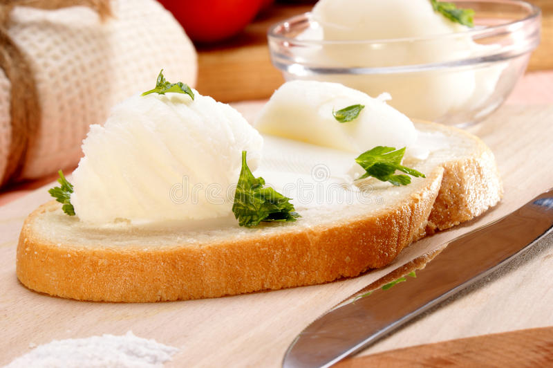 Lard With Parsley On Home Baked Bread Royalty Free Stock Images