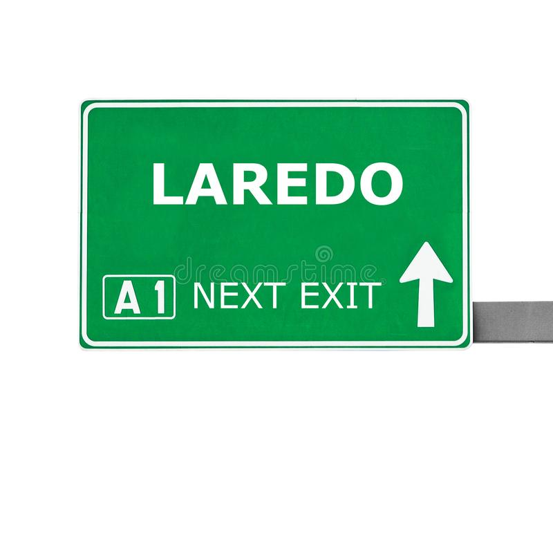 LAREDO-Verkehrsschild lokalisiert auf Weiß lizenzfreies stockbild