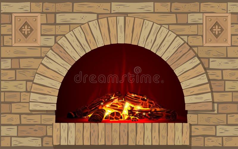 Lareira antiga do tijolo com fogo ilustração stock