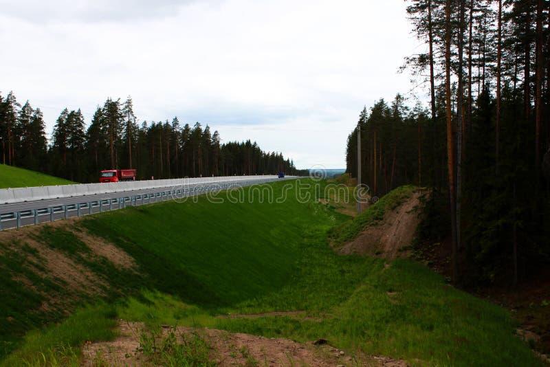 largamente e borda da estrada de inclinação com grama especialmente plantada na estrada principal foto de stock royalty free