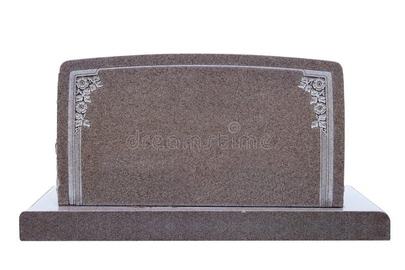 Largamente, pietra tombale in bianco isolata su bianco fotografia stock
