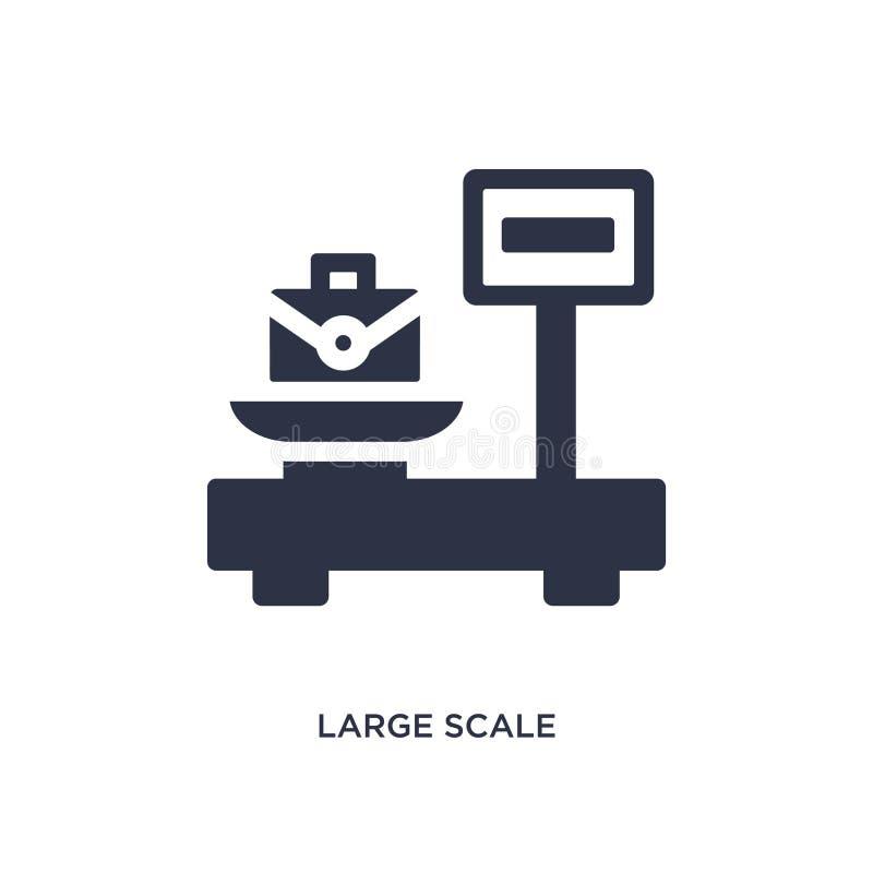 large échelle avec l'icône de valise sur le fond blanc Illustration simple d'élément de concept de mesure illustration libre de droits
