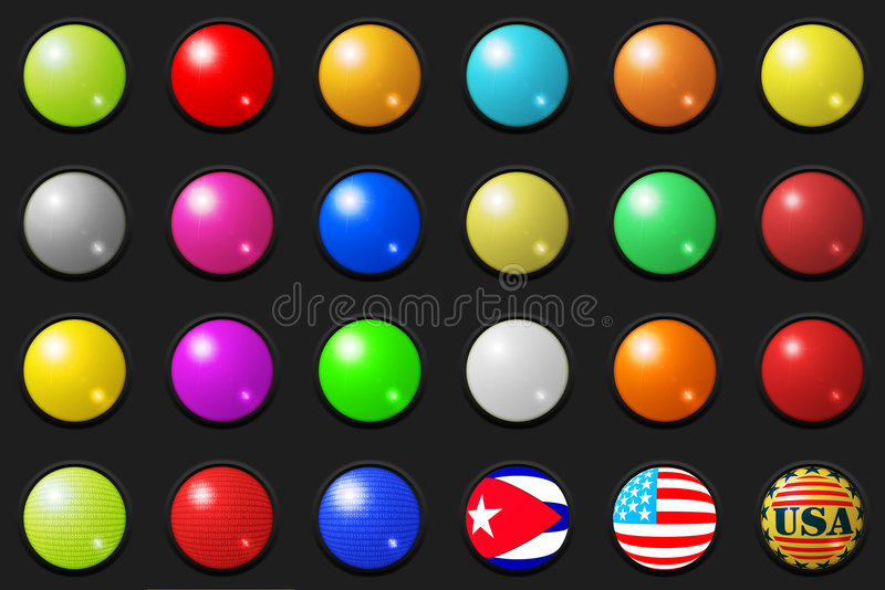 Large 3D buttons stock illustration
