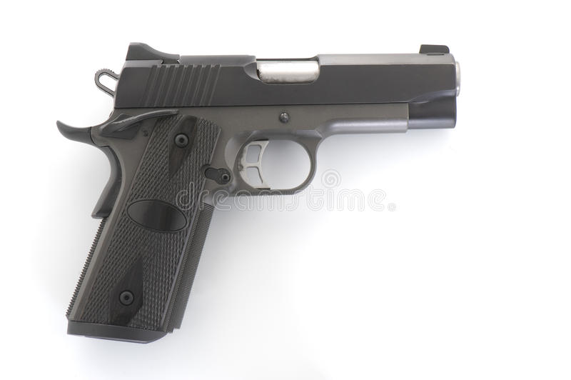 Large 9mm Pistol. Large black Kimber 9mm pistol royalty free stock photo