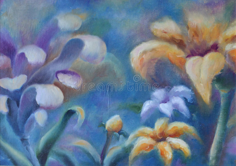Large abstract flowers, oil painting. Original oil painting large abstract flowers on canvas. Impasto artwork. Impressionism art vector illustration