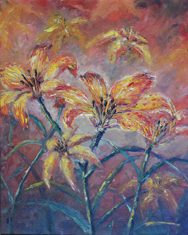 Large abstract flowers, oil painting. Original oil painting large abstract flowers on canvas. Impasto artwork. Impressionism art royalty free illustration
