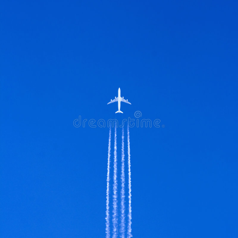 Download Large airplane in blue sky stock photo. Image of passenger - 6836918