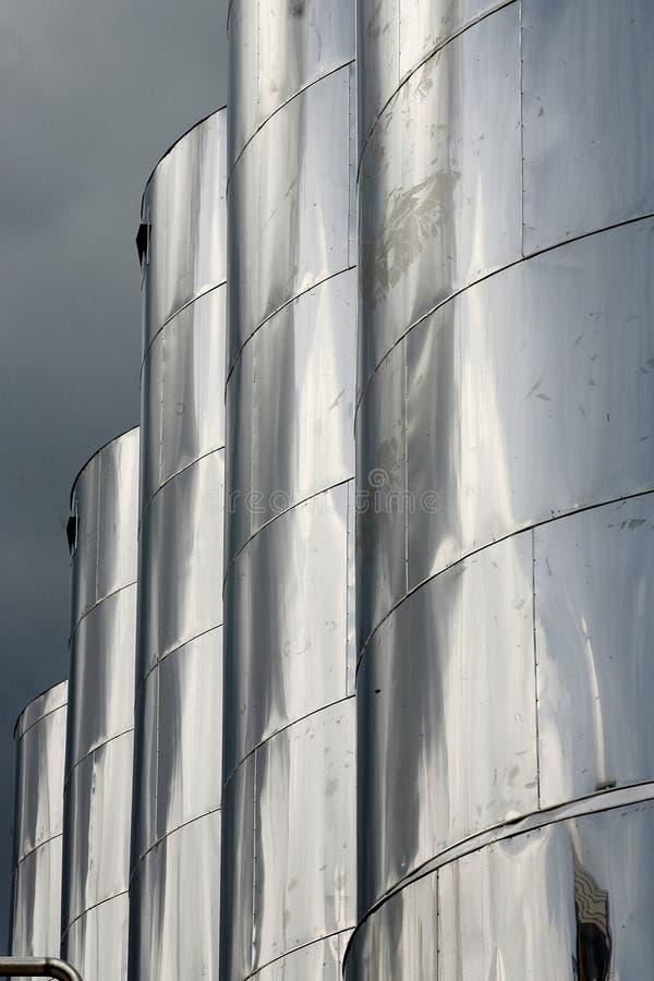 Large aluminum tanks royalty free stock image