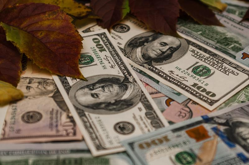 A large amount of cash in dollars. elegant background. Large amount of cash in dollars. elegant background stock images