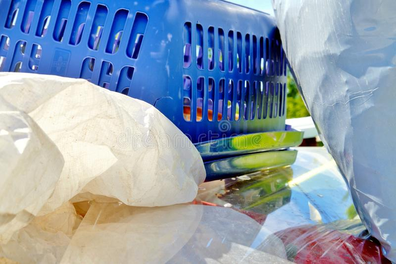Large amount of used plastic about to be recycled. Plastic Waste Disposal concept for plastic consumerism, modernization, digital age, urbanization royalty free stock photo