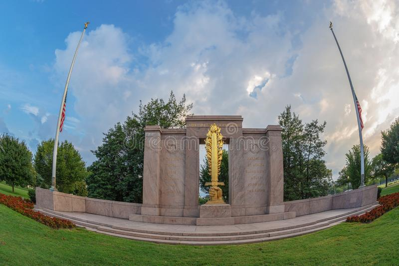 Second Division Memorial in Washington DC, USA. Large angle view of Second Division Memorial, located in President`s Park in Washington, DC royalty free stock photography