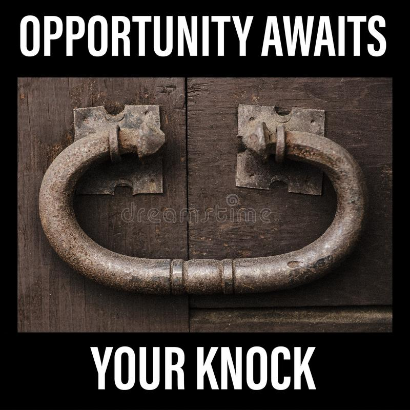 Opportunity awaits your knock sign. Large rustic door knocker, vintage metal on an old wooden door. stock photography